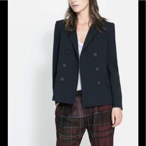 Zara navy double breasted blazer